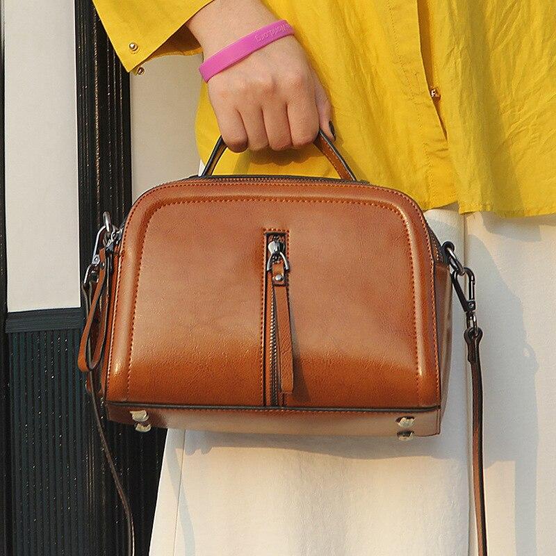Genuine Leather Bags Designer Handbags Women Shoulder Crossbody Bags Oil waxing cowhide Menssenger Bag Tote Bolsas