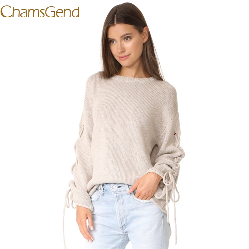 Chamsgend Newly Design Women Casual Winter Loose Long Sleeve Solid Round Neck Lace-up Beige Sweater 70925 Drop Shipping