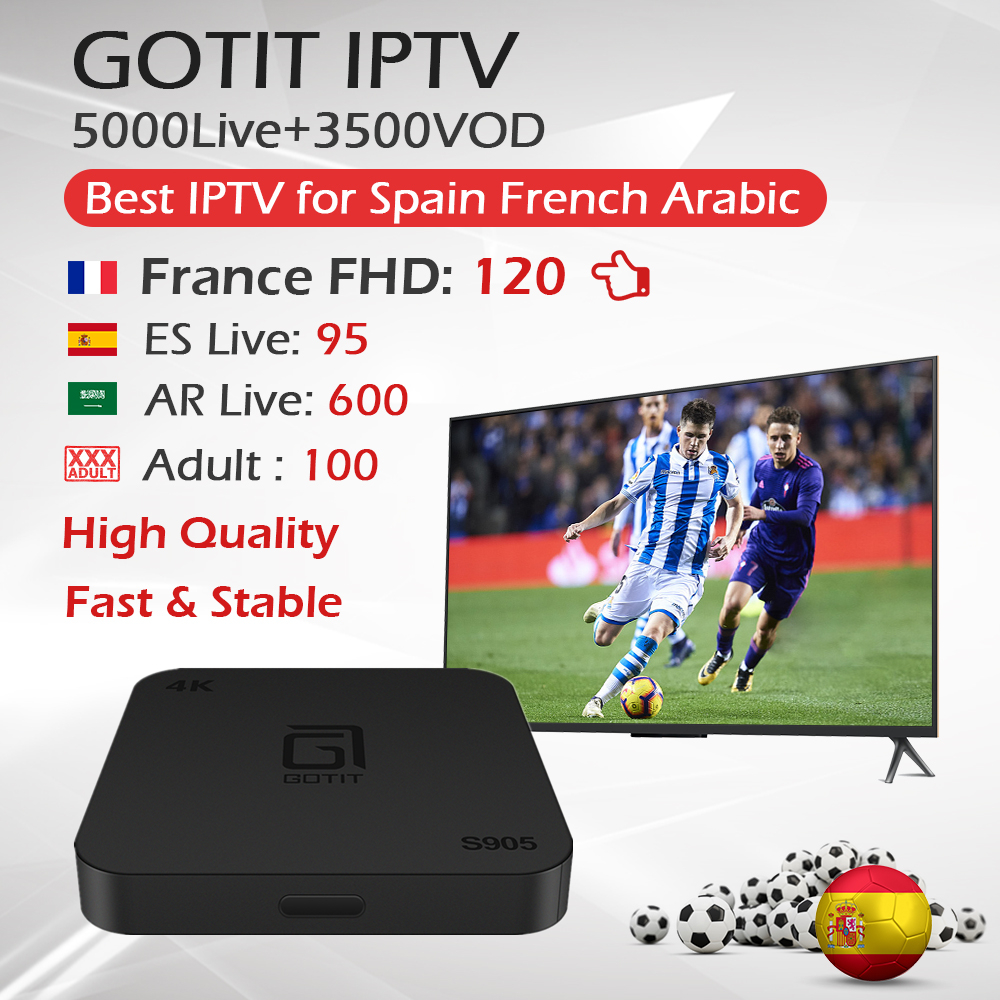 GOTiT S905 1G 8G 2G 16G France Arabic Spain KING IPTV Subscription 5000 live 4000 vod