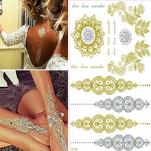 Real Sex Products Waterproof Temporary Tattoo Sticker New Style Gold Metallic Body Art Jewelry Paint Tattoos