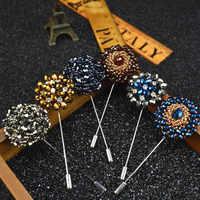 Mdiger Fashion Daisy Blume Anstecknadeln Perlen Floral Männer Anstecknadeln Kristall Männer Brosche für Anzüge Handgemachte Strassbrosche Pins