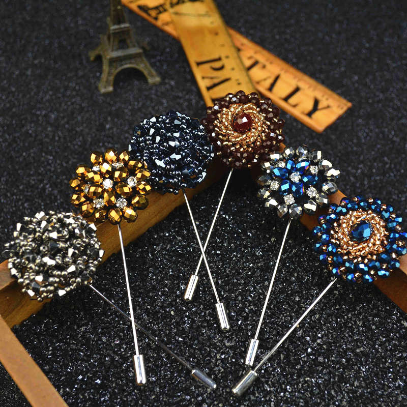 Mdiger Fashion Daisy Flower Lapel Pins Beaded Floral Men Lapel Pins Crystal Men Brooch for Suits Handmade Rhinestone Brooch Pins