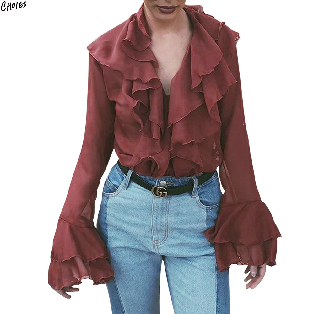 Wine Red V Neck Layered Ruffle Chiffon Blouse Women Flared Long Tendencies Short Shirts Basic Collar Less Burgundy L Sleeve Tied Front Semi Sheer High Street Fashion Top In Blouses From Womens