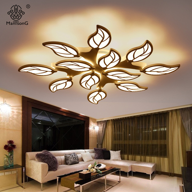Ceiling Lights Modern Leaf Design Acrylic LED Simple Smart Lamps  Contemporary AC For Living Room Hall