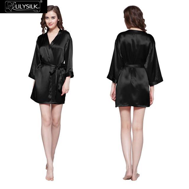 Lilysilk Seda Roupões Roupão Sleepwear Mulheres Pijama Terno Casa Roupas Kimono Sexy Short Robe Feminino Inverno Noiva