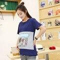 2PCS Casual 100% Cotton Short-sleeve T-shirt Maternity Clothing Set  Nursing Clothing Summer Pregnancy Feeding Tees 1609