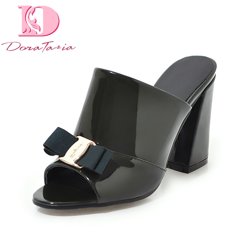 DoraTasia <font><b>2018</b></font> Large Size 34-43 <font><b>Sexy</b></font> Square <font><b>High</b></font> <font><b>Heels</b></font> Summer Mules <font><b>Pumps</b></font> <font><b>Shoes</b></font> <font><b>Women</b></font> Fashion <font><b>Top</b></font> <font><b>Quality</b></font> Lady Footwear image