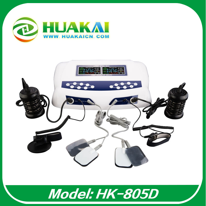 2015 New  Free  Shipping  HK-805D With Dual Color LCD Display Detox Foot Spa Machine 2014 new free shipping dual display hk 809 with waistbelts machine for pedicure