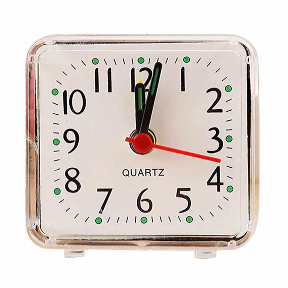 Mới đồng hồ để bàn Hình Vuông Nhỏ Giường Du Lịch Nhỏ Gọn Thạch Anh Bíp Đồng Hồ để bàn Dễ Thương Di Động Đồng hồ điện tử để BÀN # T2