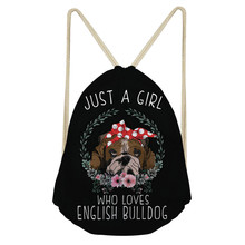 ThiKin English Bulldog Casual Drawstring Bag Multicolors Backpacks Casual Travel Bags Funny Dog Teenagers Mochilas