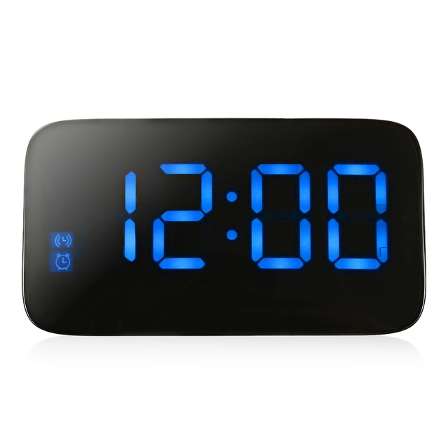 LED Alarm Clock Large LED Display Digital Desktop Table Clocks Electronic Snooze Backlight Voice Control With USB Cable