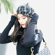 2018 Beret Female French Hat Plaid Wool with Veil For Wedding Party Tweed Winter Cap