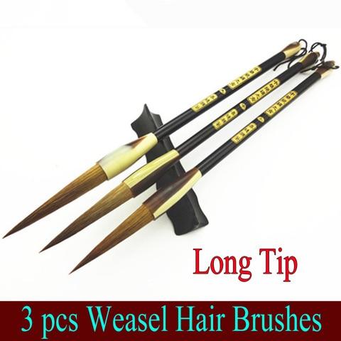 3 pcs top pinceis de caligrafia chinesa ponta longa cabelo fuinha pincel para pintura desenho