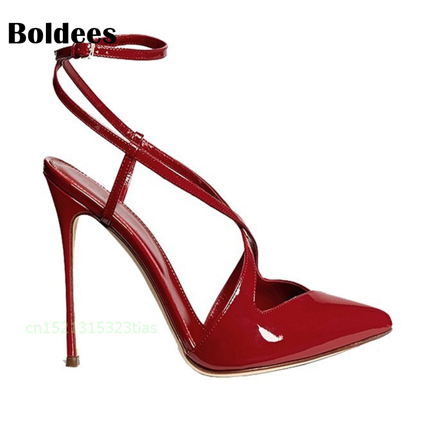 Ladies Red Shoes 2018 Spring Patent Cross Straps Gladiator Pointed Toe Sandals Women High Heels Party Wedding Pumps Shoes 43 wholesale lttl new spring summer high heels shoes stiletto heel flock pointed toe sandals fashion ankle straps women party shoes
