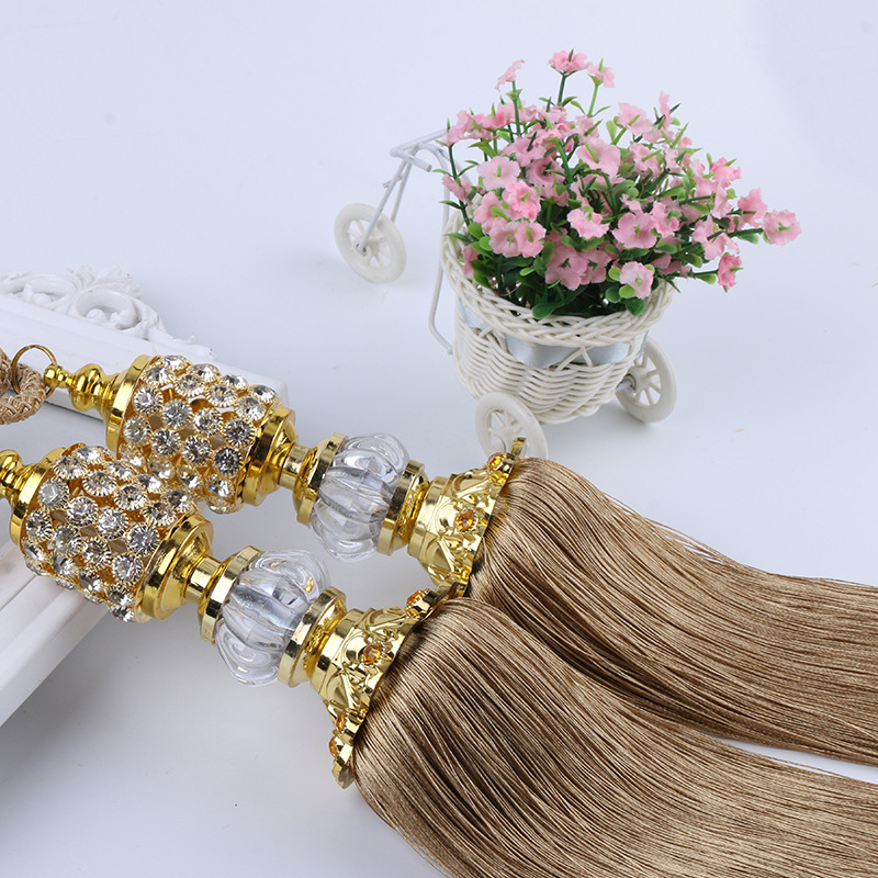 XWL 1 Pair Crystal Beads Balls Curtain Hanging Belt Window Curtain Accessories Strap Tassel Tiebacks Buckle Lashing Bind Decor
