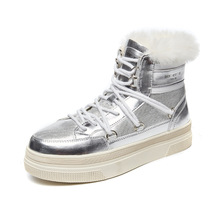 SWONCO Winter Shoes Women Snow Boots Ankle High Top 2019 Black/white Sneakers Platform  Fur Boot Plush