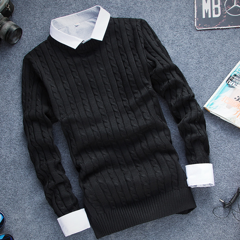 [12 Colors] High Quality Men Pullover 2016 Ny Fashion Round Collar, - Herrkläder - Foto 3