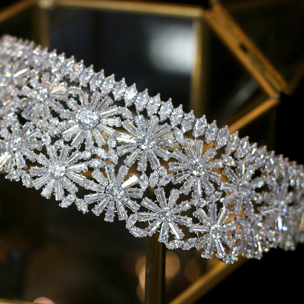 Alta calidad de oro/plata corona 3AAA CZ rhinestone princesa tiara boda cena accesorios para el cabello-in Joyería para el cabello from Joyería y accesorios    2