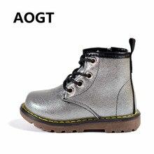 AOGT детские сапоги из искусственной кожи непромокаемые ботинки martin осень/зима модные детские сапоги брендовые Девочки Мальчики обувь резиновые сапоги