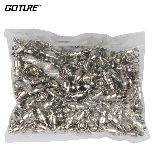 200 Pieces/lot Ball Bearing Swivels High Carbon Steel Double Circle Solid Rings Fishing Connector Size 2# 4# 6#