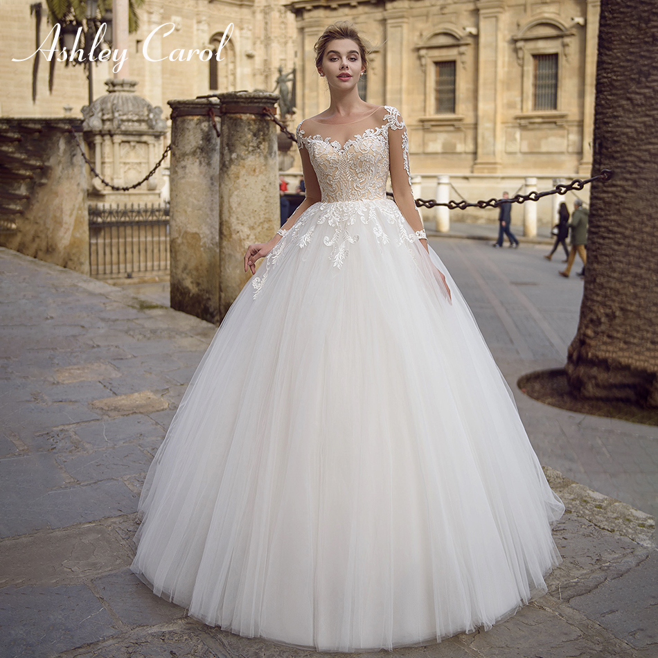 Ashley Carol Sexy Scoop Long Sleeve Tulle Wedding Dress 2019 Appliques Lace Up Illusion Bride Dresses Princess Wedding Gowns