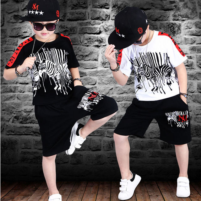 스포츠 정장 십대 여름 소년 의류 세트 짧은 소매 티셔츠 & 바지 캐주얼 4 5 6 7 8 9 10 12 14 세 아동복