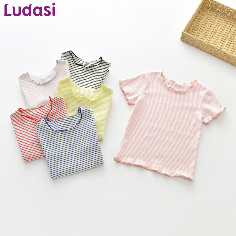 Baby Girl Summer Clothes Childrens T-shirts Kids Tops Striped Shirt Child Costume Baby Cotton Garment Wooden Ear Tshirt Fashion