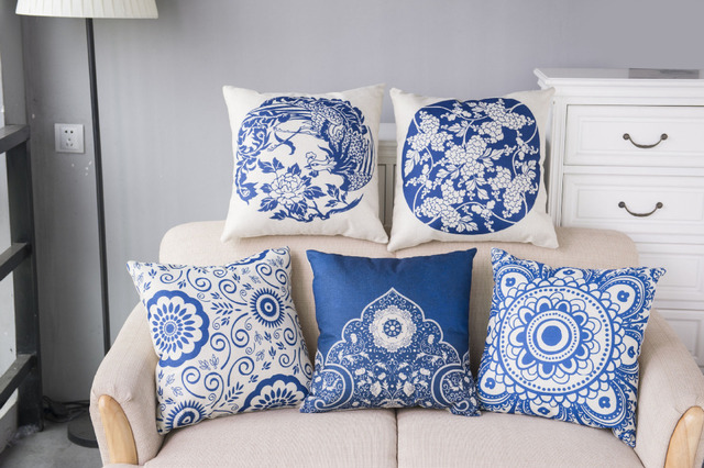Divano In Lino Bianco : Houspace nuova copertura del cuscino in cotone e lino blu e bianco