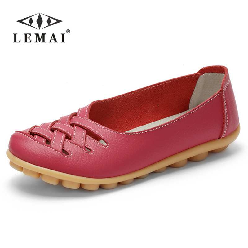 2017 Mother summer 35~44 genuine leather women shoes lady flats woman sandals female ballet dance shoes woman loafers moccasins 2016 mother shoes genuine leather loafers woman solid color soft comfortable ballet flats flexible round toe ol lady work shoes