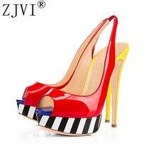Купить с кэшбэком ZJVI woman peep toe sandals ladies thin high heels shoes women mixed colors summer patent leather sandal back strap sandalias