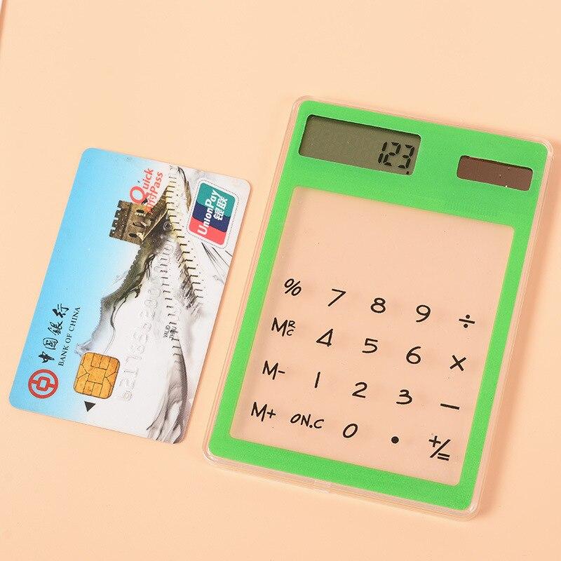 Лидер продаж Тонкий Кредитная карта солнечные Мощность карманный мини калькулятор новинка небольшой калькулятор Цвет доступны