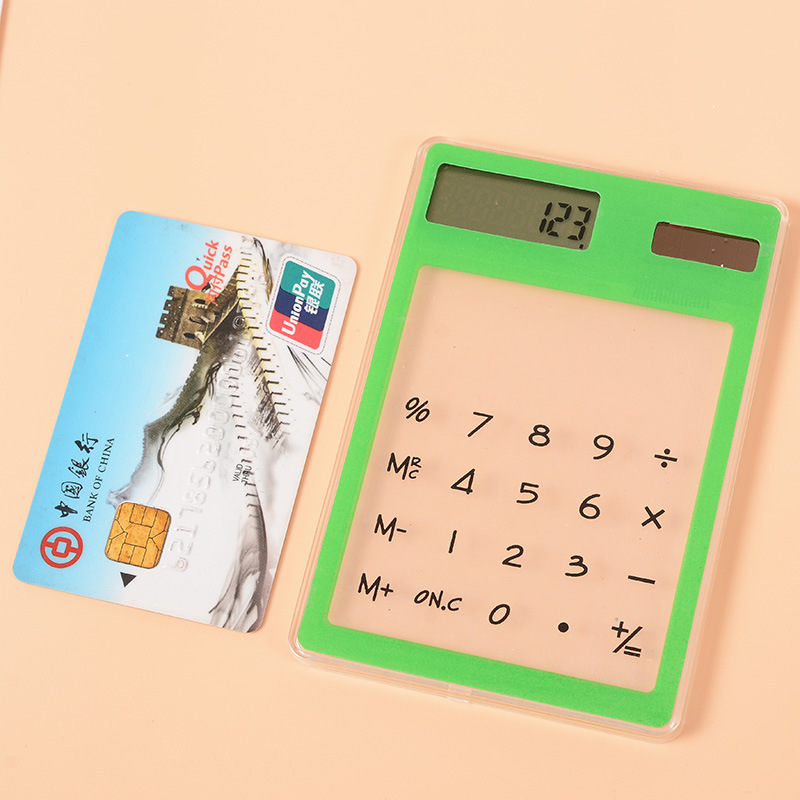 Hot sale Slim Credit Card Solar Power Pocket Mini Calculator Novelty Small Calculator Color Available