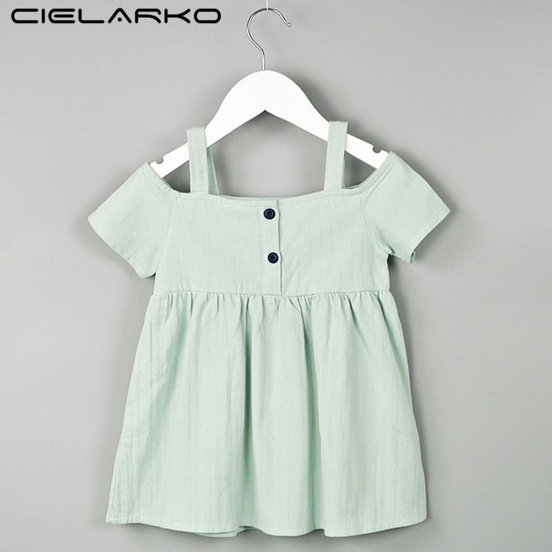 Cielarko בנות שמלות קיץ כותנה שמלות מקרית וינטג עיצוב ילדים שמלת נסיכה התינוק סטרפלס לבוש לנערה