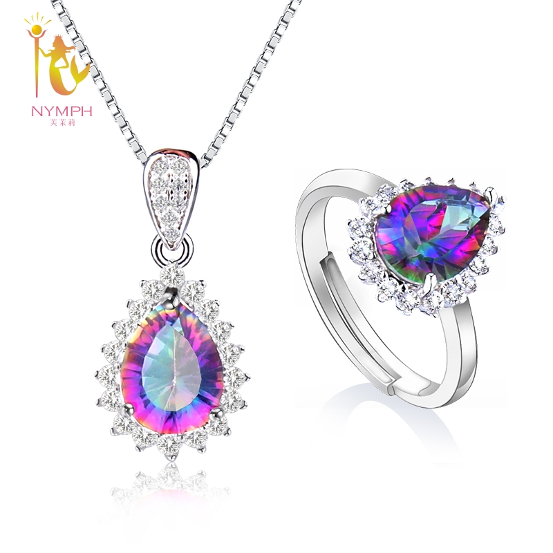 NYMPH Crystal Pendant Rings Necklace Jewelry Set 925 Silver Cool Trendy Gift For Women Water Shape T239DJ цены онлайн
