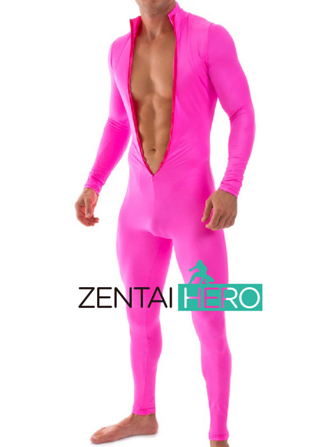e30163f12752 Free Shipping Party Sexy Fuschia Jumpsuits Plus Size Stretch Tight Costumes  Front Zipper Bodysuit Lycra Zentai