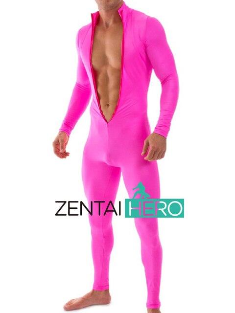 d4f950b1ae Livraison gratuite fête Sexy Fuschia combinaisons grande taille Stretch  serré Costumes avant Zipper body Lycra Zentai