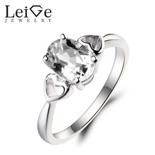 Leige Jewelry Solitaire Ring Natural White Topaz Ring Wedding Ring Gemstone 925 Sterling Silver Ring November Birthstone Gifts