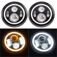 7 LED lamp with Halo Angel Eye Ring Headlights Bulb for JK LJ CJ Hummer H1 H2 Jeep Wrangler