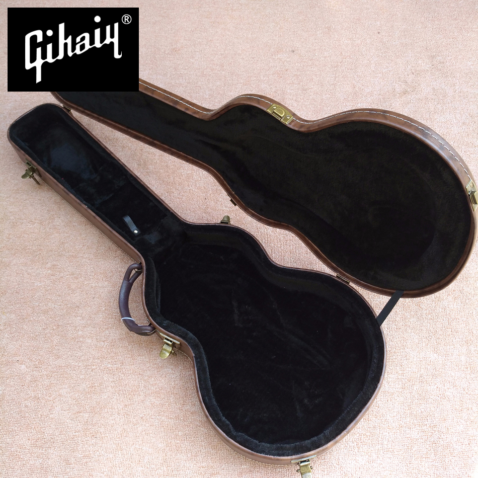 New style, high quality custom LP standard electric guitar case, brown leather hard case with black lining, free shipping new style high quality hollow body es 335 jazz electric guitar case black leather hard case with white lining free shipping