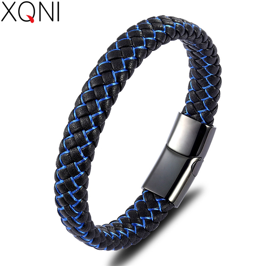 XQNI Fashion Design Stripe Blue Color New Classic Stereo Technology Genuine Leather Bracelet For Men Marry Christmas Gift Sale