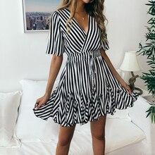 купить Vintage Striped Women Dress V Neck Ruffle Cotton Short Summer A-Line Boho Party Dress Plus Size Sexy 2019 Mini Lady Female Dress онлайн