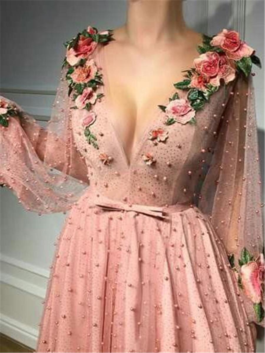 A line Prom Dresses V neck Pink Long Prom Dress Evening Dresses With 3D Flower Long