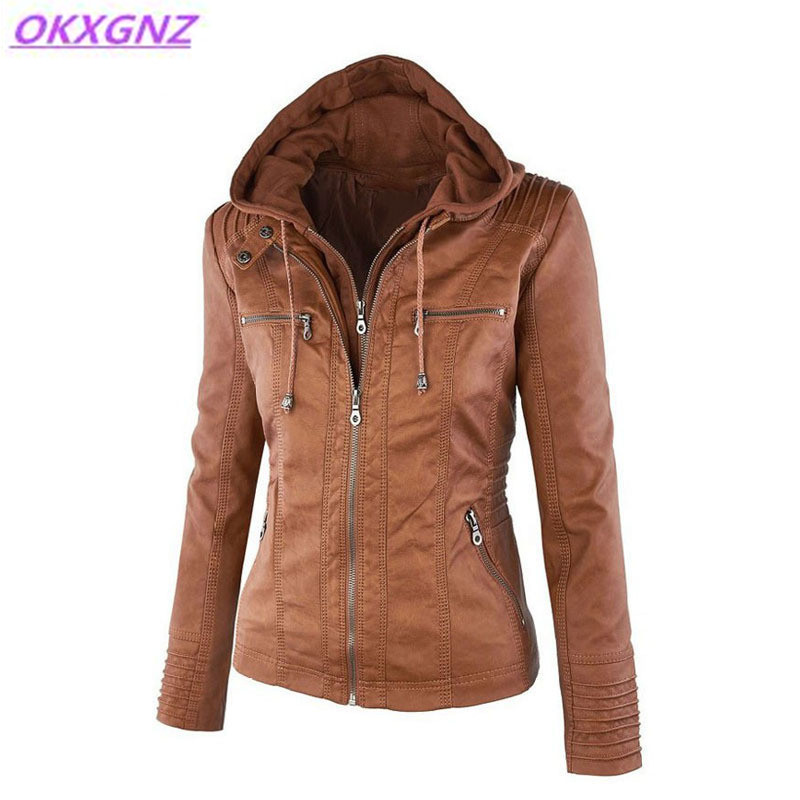 OKXGNZ Women Imitation Leather Jacket 2017 Warm Winter Fashion Hooded Women Coat Solid Color Casual Tops Plus Size XS-7XL A376