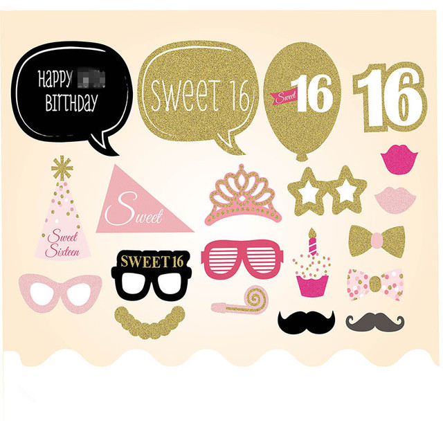 20pcs 16th Happy Birthday Supplies Photo Booth Props Sweet 16 Party