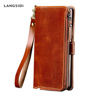 Genuine Leather Case For Oneplus 6 7 Wallet Stand Holder Phone Bag for 5 5T luxury marvel Smartphone Armor With zipper funda