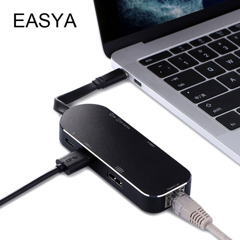 EASYA 7-in-1 USB Type-C Hub to HDMI RJ45 Gigabit Ethernet 1000Mbps Adapter with USB 3.0 Hub Card Reader for Macbook Pro aoeyoo uc 05 usb 3 1 type c to gigabit ethernet adapter with pd