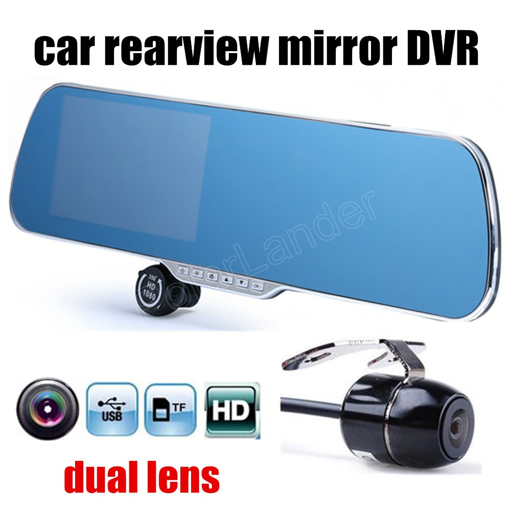 DVR Camcorder Rearview-Mirror-Driving-Recorder Dual-Lens Night-Vision Auto Car Inch-5