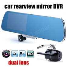 Rearview mirror driving recorder inch 5 double dual lens night vision car auto video camcorder DVR camcorder free shipping