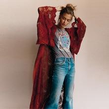 Vintage Flare Sleeve Floral See Through Lace Kimono RK