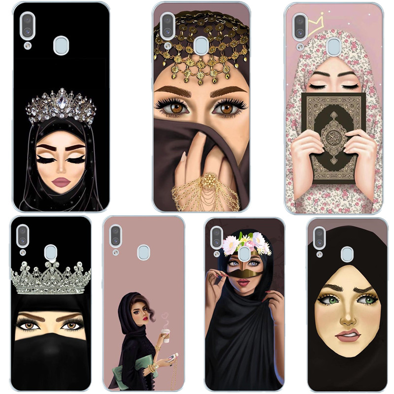 Luxury Woman In Hijab Face Muslim Islamic Gril Eyes Silicone Cover Phone Case For Samsung A7 2018 A10 A30 A50 A70 A9 A6 A8 Plus image